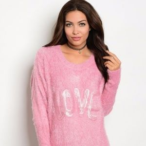 Love Pink Fuzzy Sweater