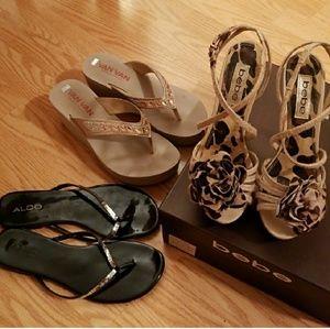 Bebe size 6 EUC sexy heels, blk +pink slides 7bks!
