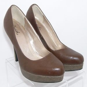 Qupid brown pointed faux textile platforms 7