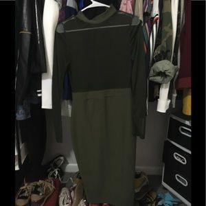 Olive mesh topped dress. Never worn