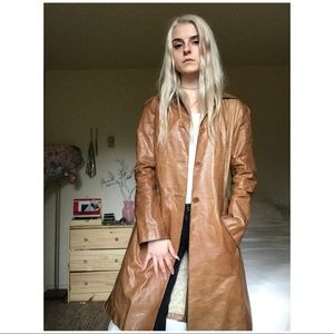 90s VTG Distressed Leather Trench