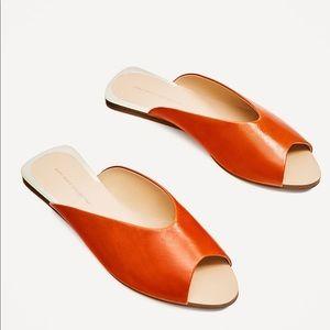 Zara leather flat sandals