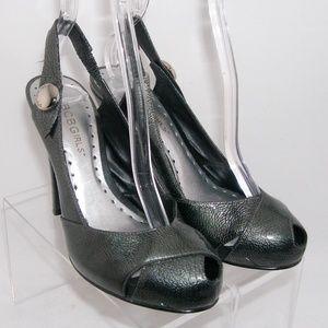 BCBGirls metallic gray tear drop slingbacks 6B