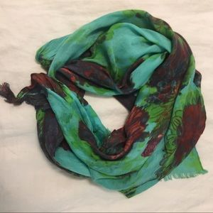 Teal Patterned Scarf- Anthropologie