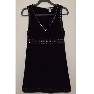ALICE + OLIVIA Black Studded Knit Sleeveless Dress