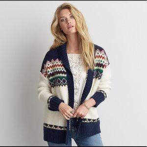 AEO Cardigan Sweater Patterned Pocket Fair Isle