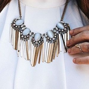 Jewelry - Opal Gold Fringe Statement Necklace