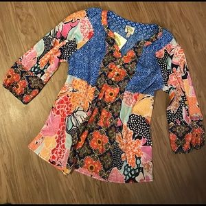 Fig & Flower Patchwork Quilt Tunic Top SZ SM NEW