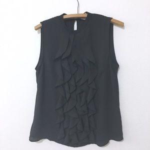 H&M Black Sleeveless Sheer Ruffle Tank Blouse Top