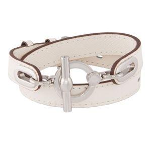 Henri Bendel white leather toggle wrap bracelet