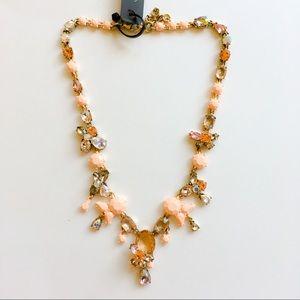 Jcrew peach floral statement necklace