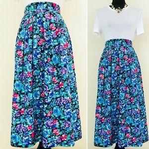 Vintage 80s Plus Size Rose Print Floral Midi Skirt