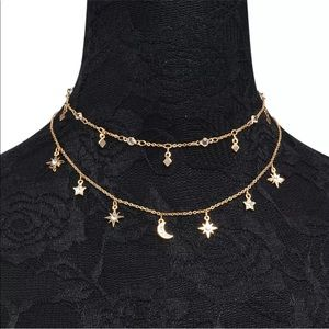 Sparkly star & moon double layered choker necklace