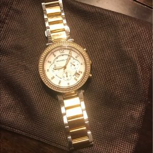 Michael Kors silver and gold large faced watch