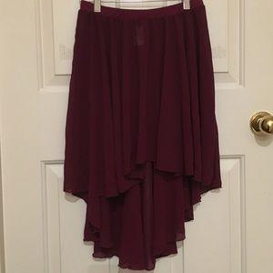 Dresses & Skirts - Maroon Chiffon High Low Skirt