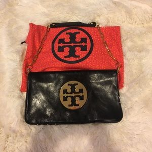 Tory Burch Leather Reva Gold chain Clutch