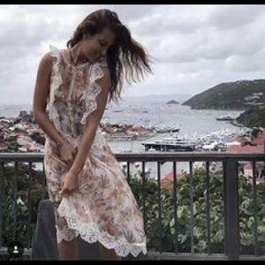 New AUTH Zimmermann Oleander Crinkle Lattice Dress