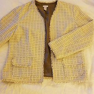 Plus sized Chicos jacket w/ fringe & metallic