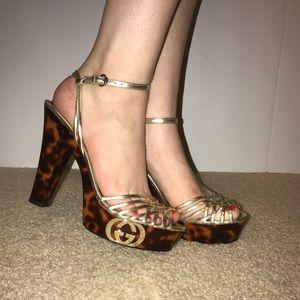 GUCCI Tortoise Metallic Heels