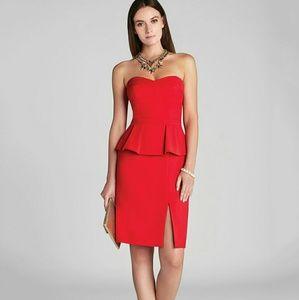 BCBGMAXAZRIA Women's Red Dress Penelope Strapless