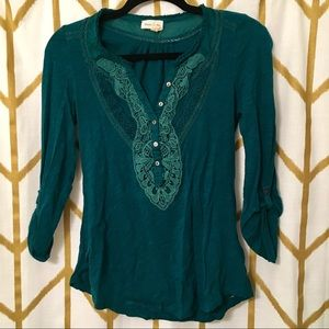 Anthropologie XS Forest Green long sleeve blouse