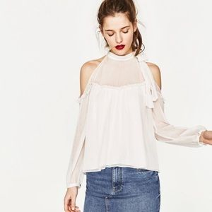Zara cold shoulder top with choker bow NWOT