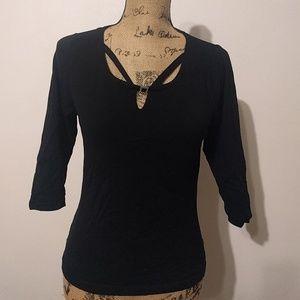 BCBG  Maxazria 3/4 sleeve black top
