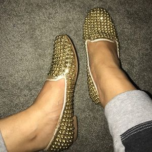 GOLD STUDDED LOAFERS SZ 7 women's