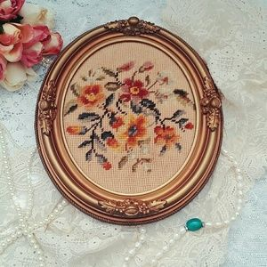 Vintage handmade gold framed needlepoint