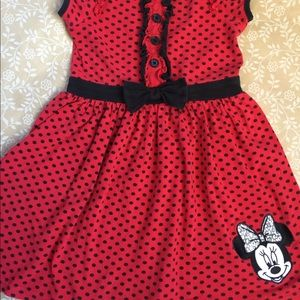 Red Minnie Mouse dress with black polka dots