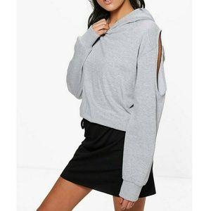 Boohoo Grey Cold Shoulder Sweatshirt