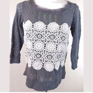 Meadow Rue Anthropologie Lace Overlay Sweater Top