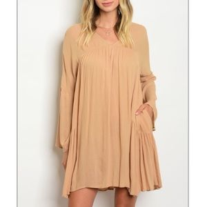 Long sleeve taupe skater dress with bell sleeves