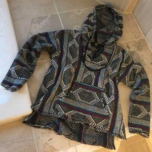 Baja Poncho Mexican blanket hoodie pullover medium