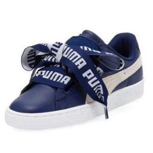 """Puma """"Basket Heart"""" Leather Sneakers, Royal"""