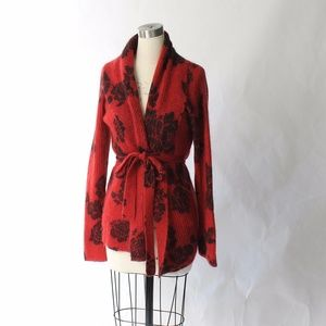 Lucky Brand Mohair Belted Floral Cardigan Sweater