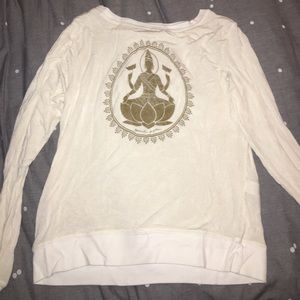 Spiritual Gangster Cream and Gold Pullover Sz S