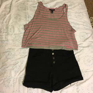 Pink and Grey Striped Crop Top