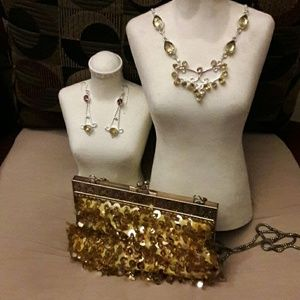 3 pc Silver Plated NECKLACE Earrings 50s-70s Bag