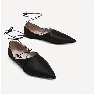 Zara lace-up flat satin shoes