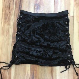 Dresses & Skirts - Current Mood Black Velvet Lace Up Skirt