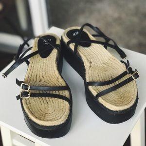 H&M Platform Espadrille Strappy Sandals