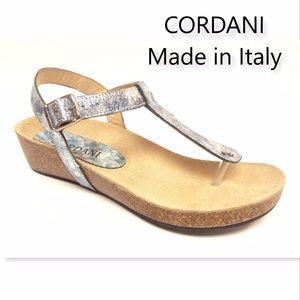 New CORDANI Size 7 Glacier Metallic Thong Sandal