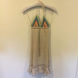Free People crochet cream and rainbow dress