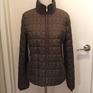 J Crew Quilted Dark Green Puffy Jacket