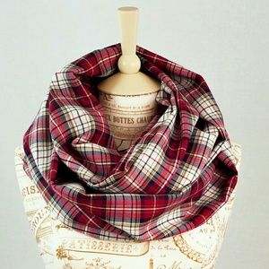 Forgotten Cotton Red Plaid Infinity Scarf