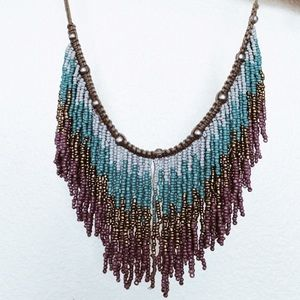Free People Ombré Fringe Statement Necklace