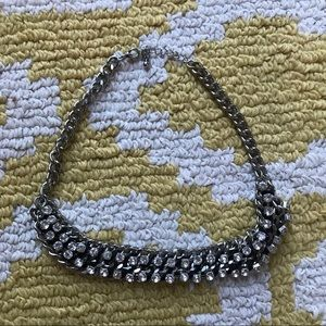Faux Diamond and a Chain Statement Necklace
