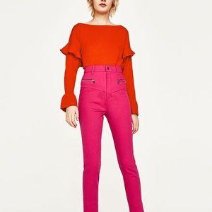 Zara deep orange flounce sweater