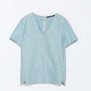 Zara textured v neck powder blue top